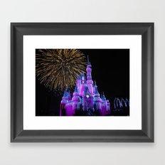 Disney Magic Kingdom Fireworks at Christmas - Cinderella Castle Framed Art Print