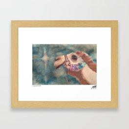 Michael's First Christmas, Camel Framed Art Print