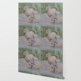 Palomino horse galloping Pastel drawing Horse portrait Equestrian decor Wallpaper