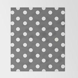 Grey Pastel Polka Dots Throw Blanket