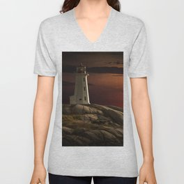 Lighthouse at Sunset in the Peggy's Cove Unisex V-Neck