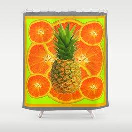 MODERN ART HAWAIIAN PINEAPPLE & ORANGE SLICES FRUIT Shower Curtain