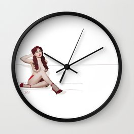 Vintage Pin up - Red Passion Wall Clock