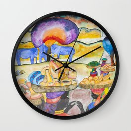 African ladies going t0 the merket (Often I dream about Africa, part4 ) Wall Clock