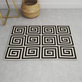 Greek Key Pattern 123 Black and Linen White Rug