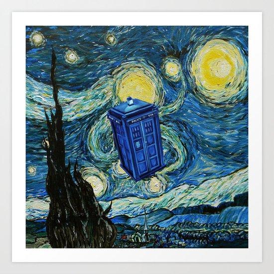 Tardis Dr. Who Starry Night Art Print