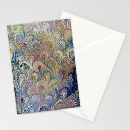 Peacock Water Marbling Stationery Cards
