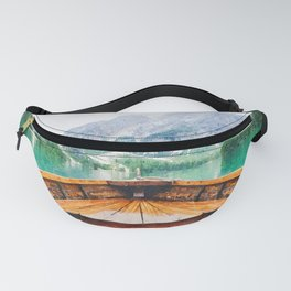 Boat in the lake watercolor painting  Fanny Pack