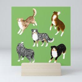 Australian Shepherd Pattern (Green Background) Mini Art Print