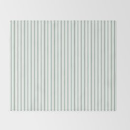 Mattress Ticking Narrow Striped Pattern in Moss Green and White Throw Blanket