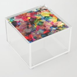 Color Burst - abstract iridescent painting in yellow, red, blue, pink and green Acrylic Box