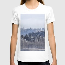 Blue shades in cold winter morning T-shirt