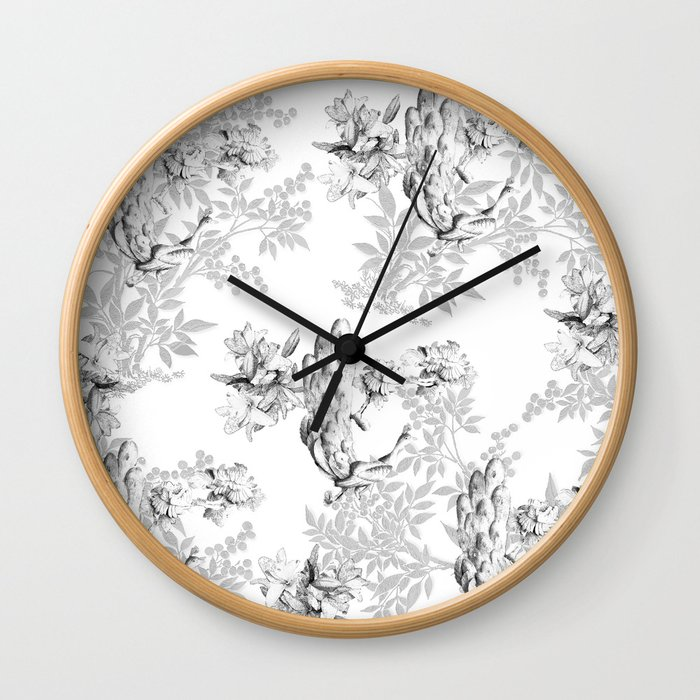 PEACOCK LILY TREE AND LEAF TOILE GRAY AND WHITE PATTERN Wall Clock