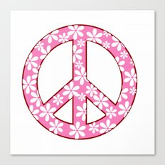 Peace Sign With Flowers In Pink Canvas Print