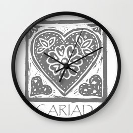Cariad, darling sweetheart Welsh lino print grey Wall Clock