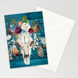 Rustic Glam Boho Chic in Teal Stationery Cards