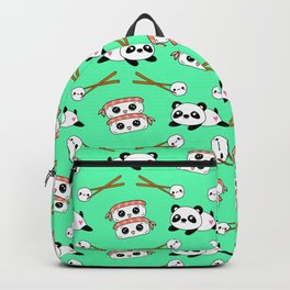 Cute funny Kawaii chibi little playful baby panda bears, happy cheerful sushi with shrimp on top, rice balls and chopsticks bright teal green pattern design. Nursery decor. Backpack