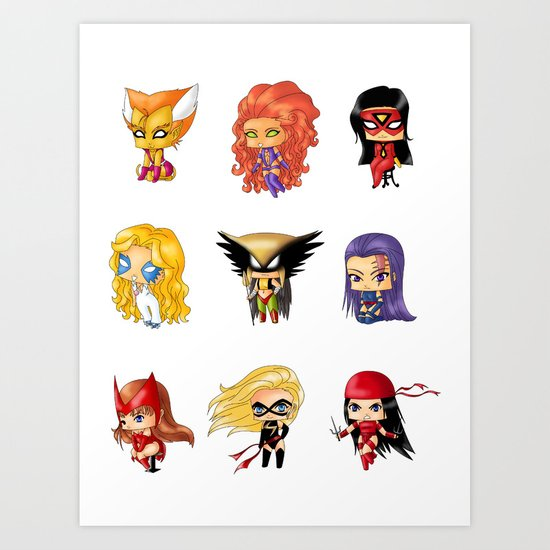 Chibi Heroines Set 3 Art Print