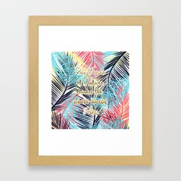 Tropical leaves Nature gold quote design Framed Art Print