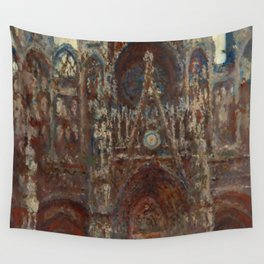 """Claude Monet """"Rouen Cathedral, evening harmony in brown"""" Wall Tapestry"""
