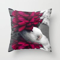 ferret Throw Pillows featuring Rosy Ferret by Clara J Aira