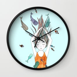 Curious whales Wall Clock