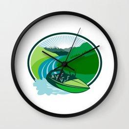Jetboat River Canyon Mountain Oval Retro Wall Clock