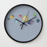 solar system Wall Clocks featuring The Solar System by J Arell