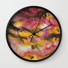 Red Skies At Night abstract landscape painting Wall Clock