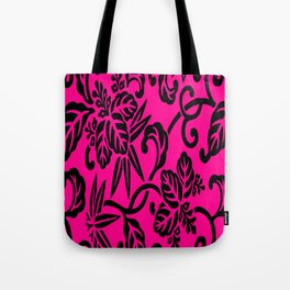 Hot Pink & Black Japanese Leaf Pattern Tote Bag