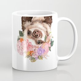 Baby Sloth with Flowers Crown in White Coffee Mug
