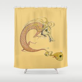 Dragon with fish Shower Curtain