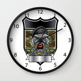Cougar Panther Mascot Head military emblem Wall Clock
