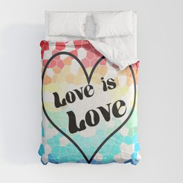 Love is Love Mosaic Pride Flag Design Comforters