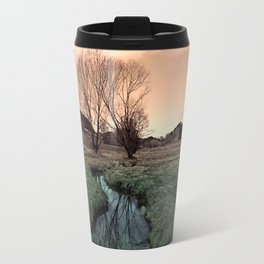 A stream, dry grass, reflections and trees II   waterscape photography Travel Mug