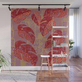 Hawaiian Lava Leaves Tapa Print Wall Mural