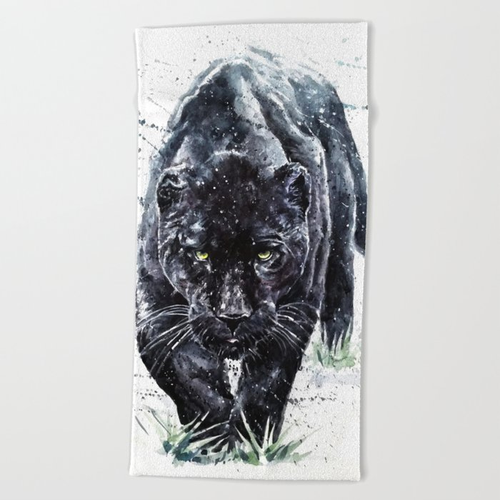 c3cf78ffb058a Panther watercolor painting predator animals puma Beach Towel by kostart