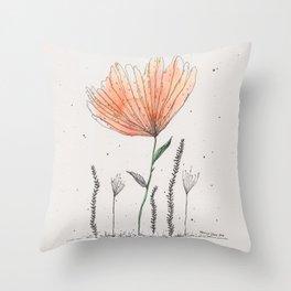 flor naranja Throw Pillow