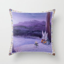 Young Bunny Together Throw Pillow
