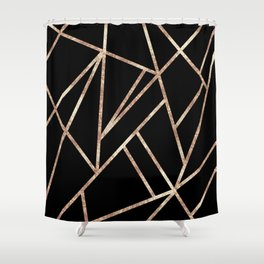Classic Black Rose Gold Geo #1 #geometric #decor #art #society6 Shower Curtain