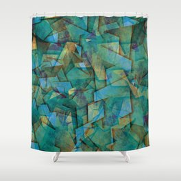 Fragments In blue - Abstract, fragmented art in blue Shower Curtain