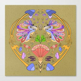 Fantasy Tiger Illustration // Mushrooms, Fantasy Mushroom's, Multicolored Mane Canvas Print