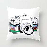 camera Throw Pillows featuring Camera by Mariam Tronchoni