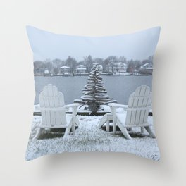 Christmas Snow Squared Throw Pillow