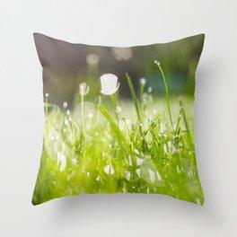 grassy morning Throw Pillow