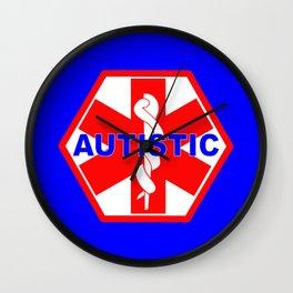 AUTISM medical alert identification tag Wall Clock