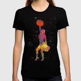 young woman Cheerleader Art Girl Poms Dance in watercolor 09 T-shirt
