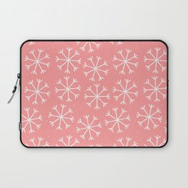 Modern hand painted coral white Christmas snow flakes Laptop Sleeve