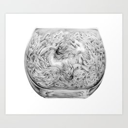 Two Lost Souls Swimming In A Fish Bowl Art Print