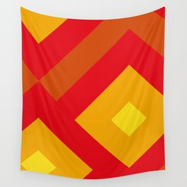 Concentric Squares in shades of Red and yellow and orange. Wall Tapestry